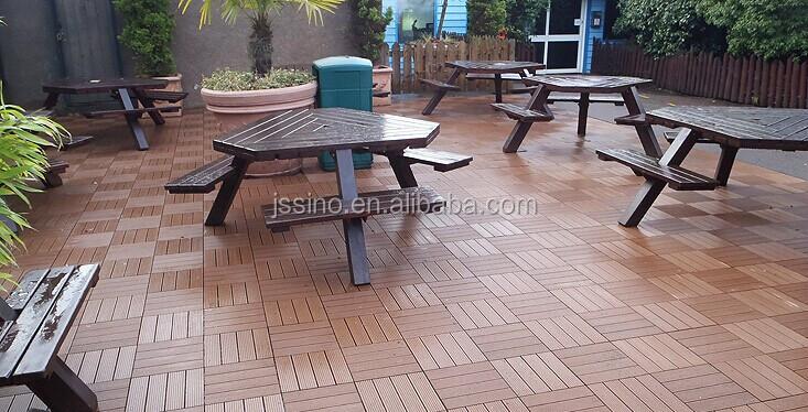 Wood Plastic Outdoor Deck Interlocking Floor Tiles For Balcony Patio Bathroom