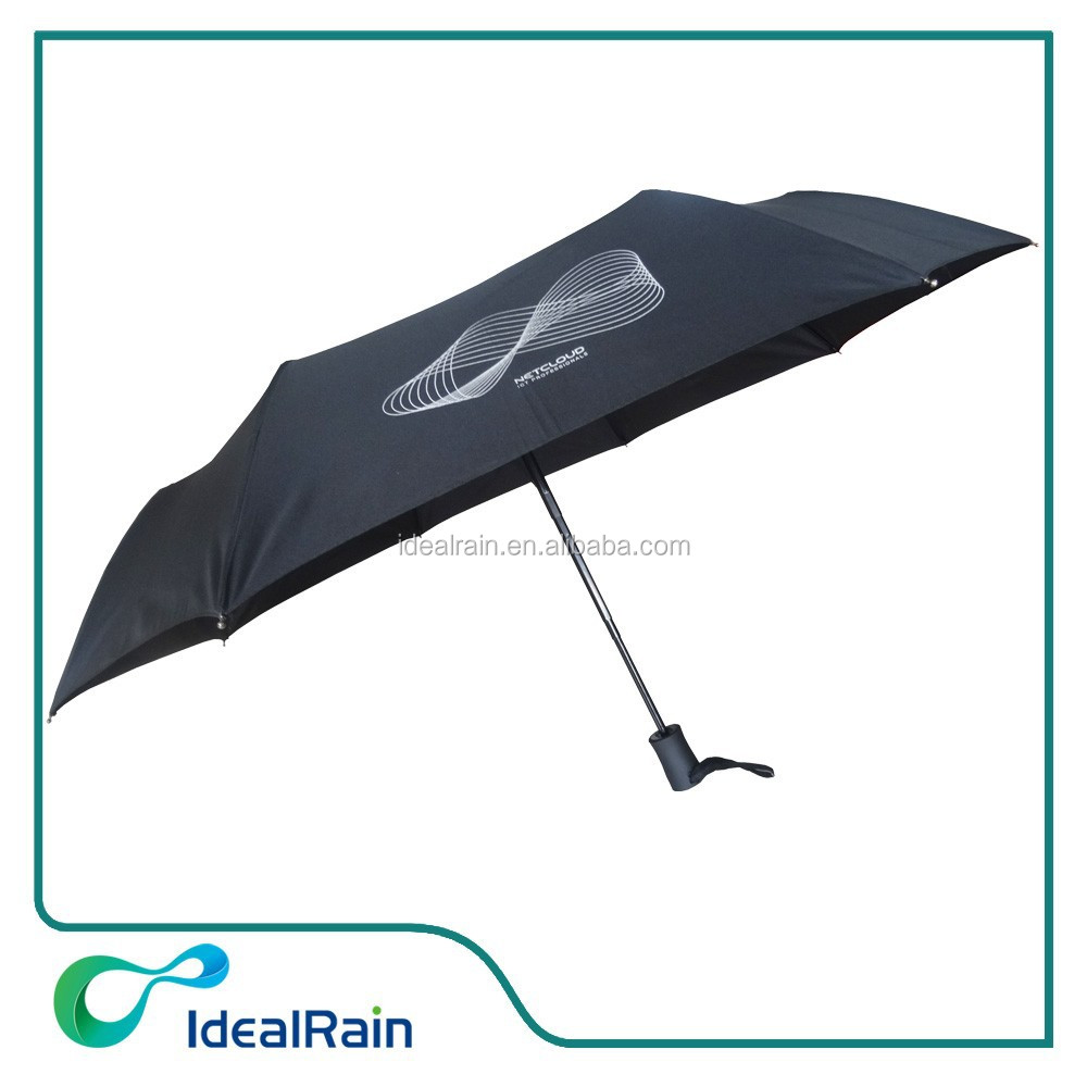 black windproof 3 folding promotion umbrella automatic