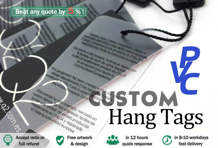 2018 hot selling custom plastic PVC hang tags with your own design