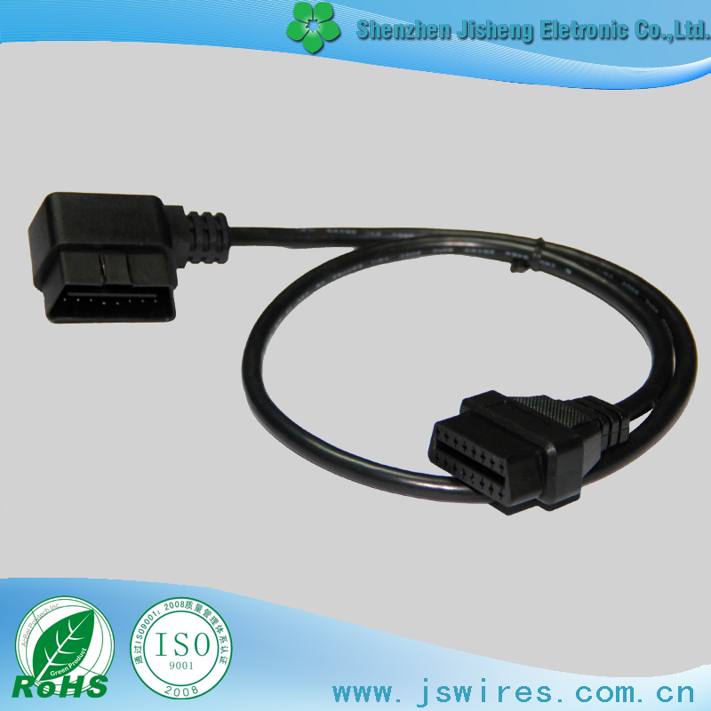 Diagnostic Cable Right Angle OBDII Male to OBDII Female Auto Vehicles Cable