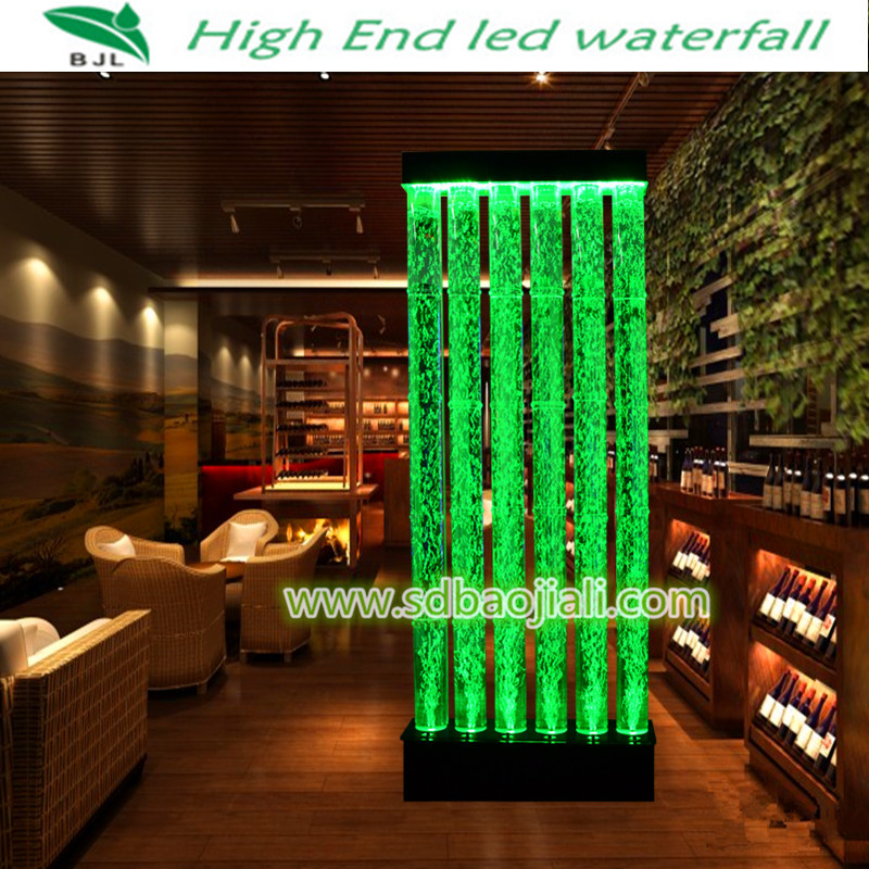 Led waterfall acrylic aquarium restaurant interior for Aquarium waterfall decoration