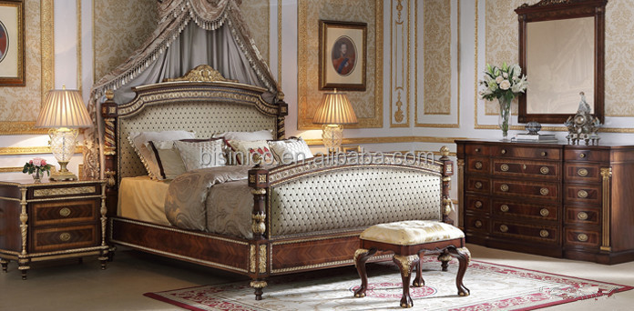 Royal Classic Bed Palace Furniture Retro Solid Wood Carved
