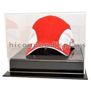 Sports Wear Retail Store Acrylic Caps Table Top Display Case, Antique Glass Hat Display Case