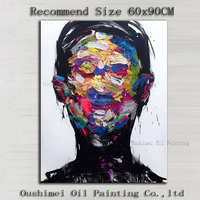 Beautiful Artworks Artist Handmade High Quality Abstract Knife Portrait Painting On Canvas Hand-painted Abstract Man Portrait