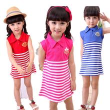 Girl s stripe dresses retail girls sleeveless dress Children s clothing baby kids girls navy blue