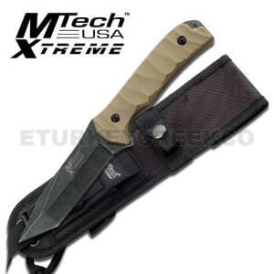 "MX-8065. M-Tech Xtreme Tactical Fighting Knife 10"" Overall with Case FIXED BLADE KNIFE 10"" Overall 5MM THICKNESS BLACK STONEWASH FINISHED BLADE 4.5"" TANTO BLADE TAN COLOR G10 HANDLE INCLUDES BLACK MOLLE SHEATH KNIFE fixed blade knife hunting sharp edge steel"
