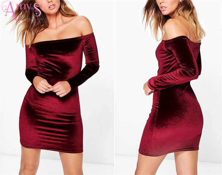 4.13 USD WQ061 USA Fashion lady velvet dresses women party, off shoulder dress, off shoulder dresses women with sleeves
