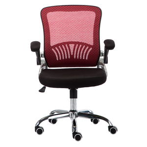 red lumbar support flip up armrest computer desk mesh back chair for gaming room