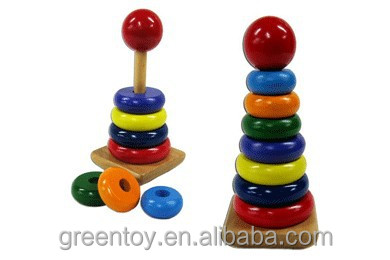 2015 Montessori wooden teaching toy rainbow tower,Educational stack rings intelligence toys,Preschool Baby Stacking Toys