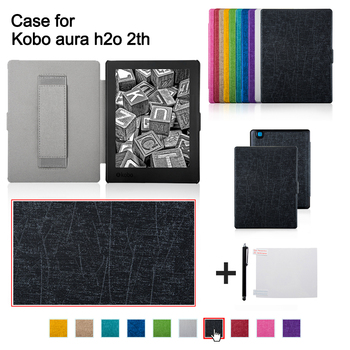 Folio Pu Leather Cover Case With Hand Holder For 2017 Kobo Aura H2o Edition  2nd Water Proof Ereader - Buy Cover For Kobo 6 8
