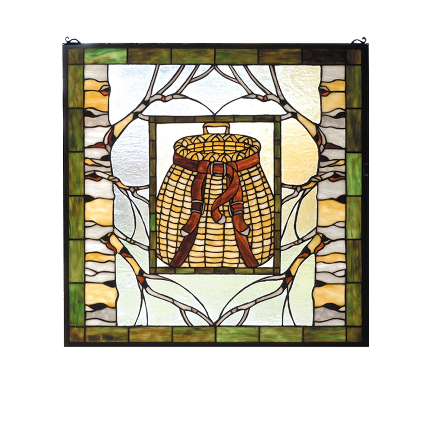"Meyda Hand Crafted Designed Art Decorative Panel 24.5""W X 24.5""H Pack Basket Stained Glass Window"