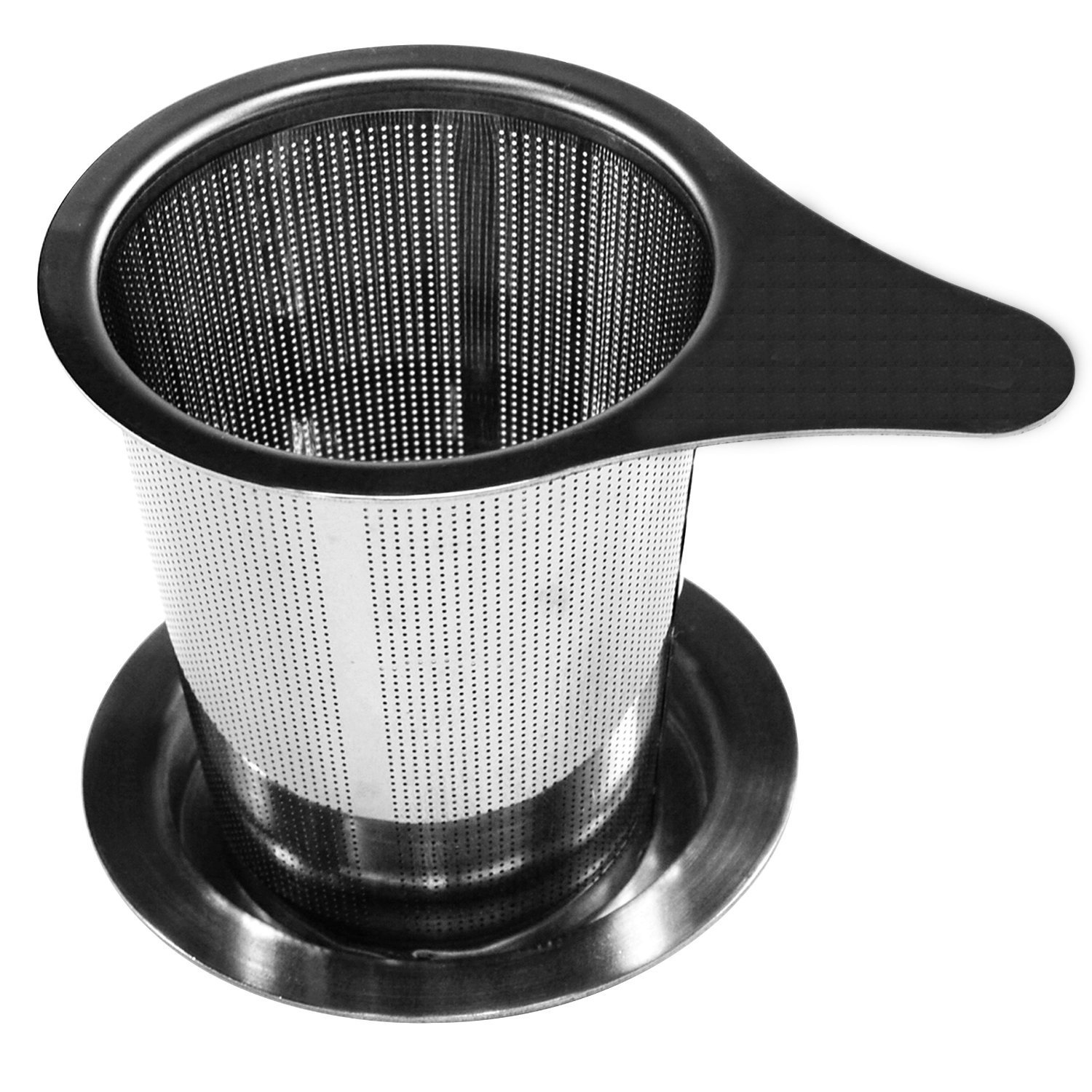 Ilyever Ultra Large Fine Brew-in-mug Tea Infuser with Lid-Stainless Steel Large Capacity Tea Strainer Steeper-Wide Rimmed with Handle for Loose Leaf Grain Tea Cups, Mugs, and Pots