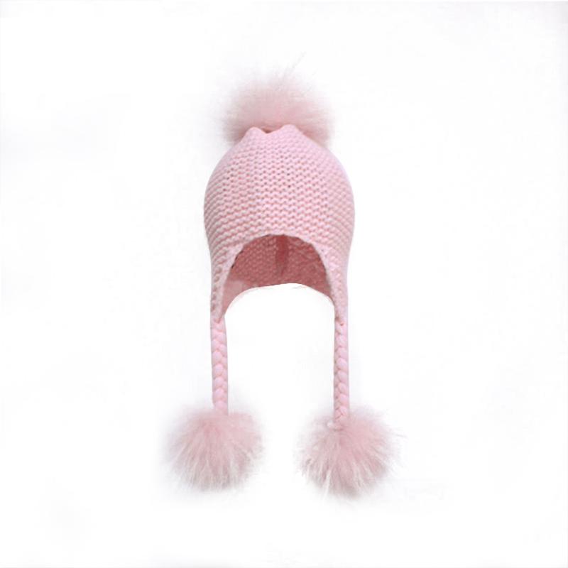 New Design Custom Large Real Fur Three Balls Baby Knit Hat  Wool Baby Hat