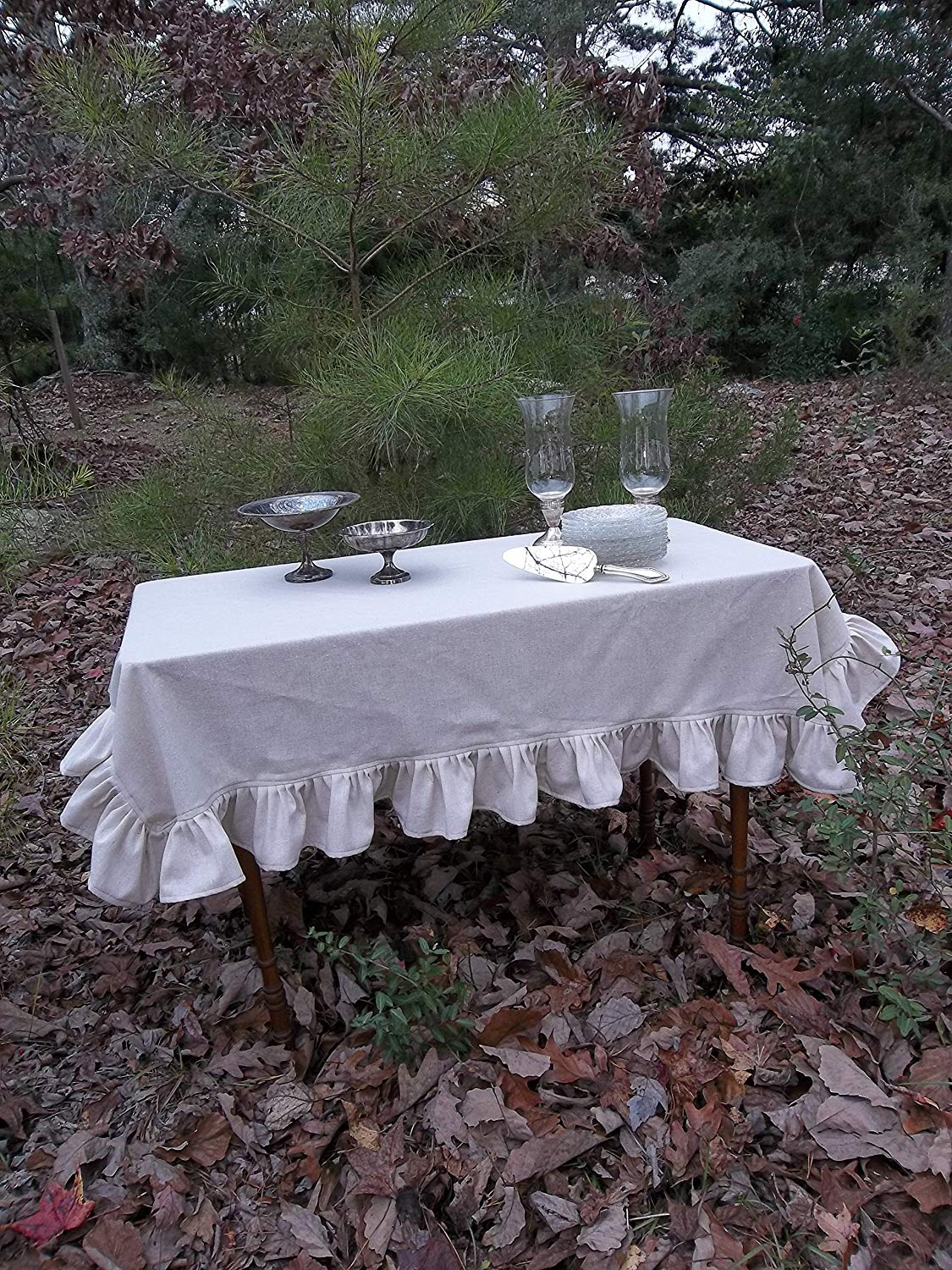 Ruffled Linen Tablecloth, Custom Sizes, Natural Linen Tablecloth, French Country Tablecloth, Cottage Chic Table Linens