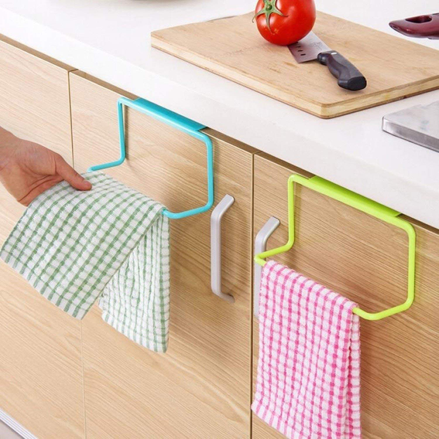 Plastic Door Back Towel Rack Bar Hanging Holder Rail Organizer Bathroom Kitchen Cabinet Cupboard Hanger Shelf