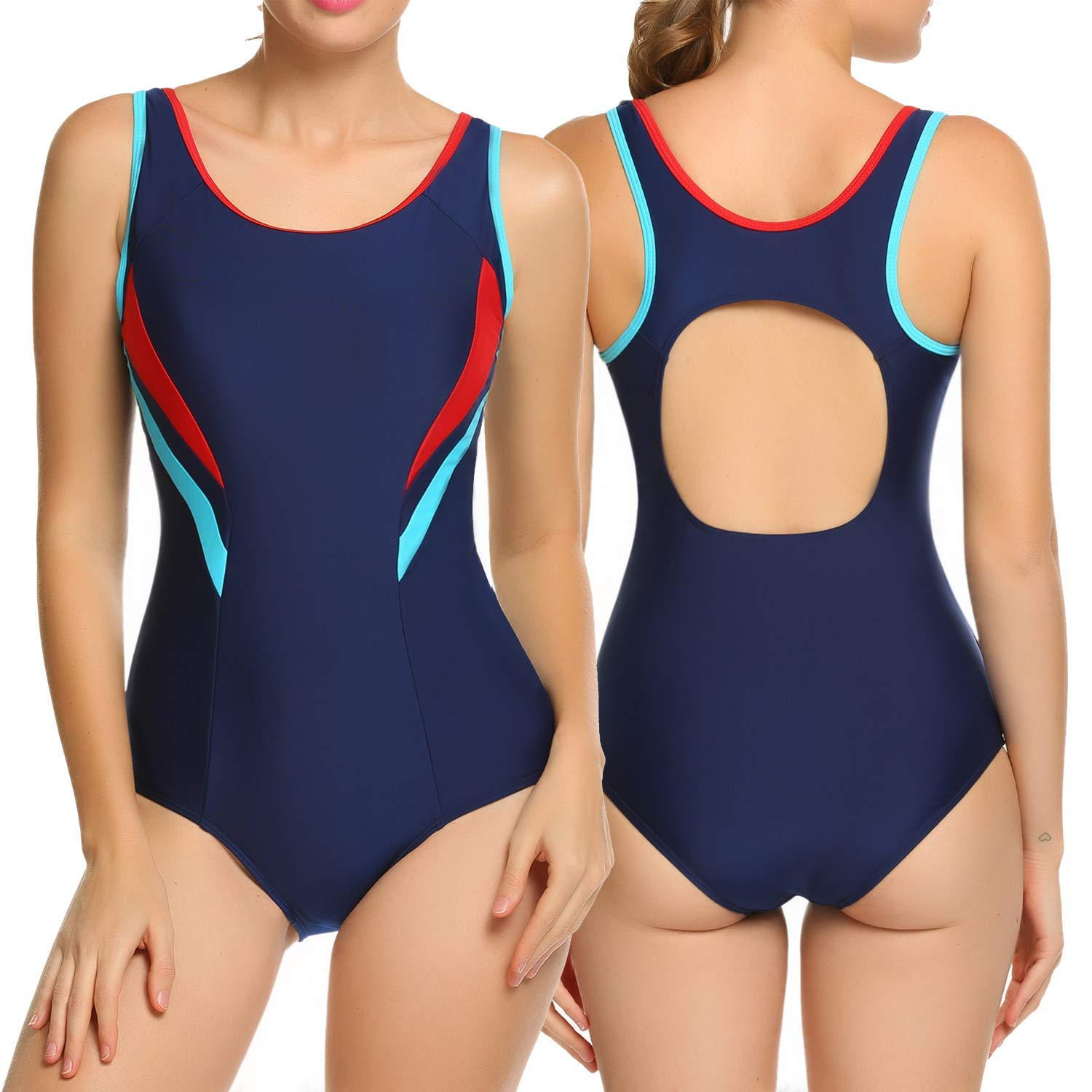 b632fc1f949a3 Get Quotations · ADOME Athletic One Piece Swimsuit Womens Backless Bathing  Suit S-XXL