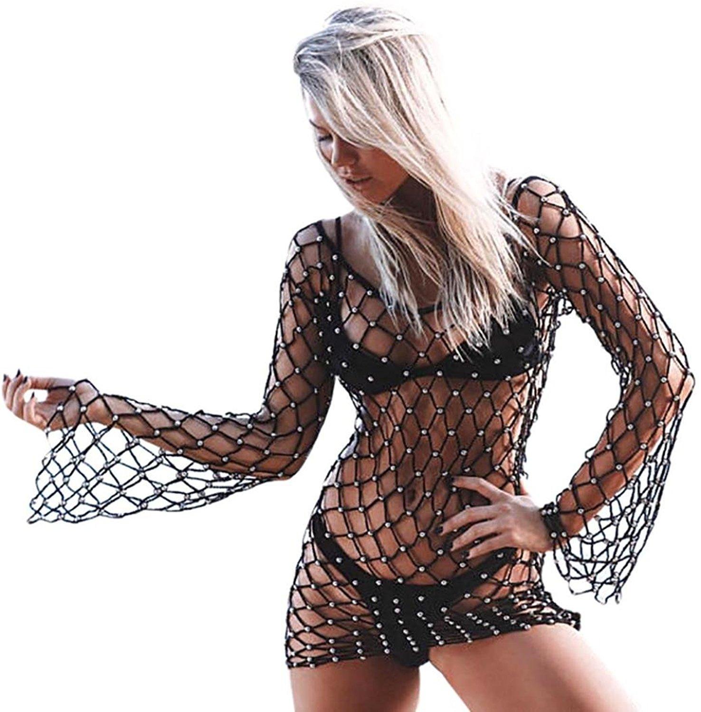 ea142f895c Get Quotations · Easytoy Women Beaded Crochet Fashion Bathing Suit Bikini Swimsuit  Coverups Tshirt Dress