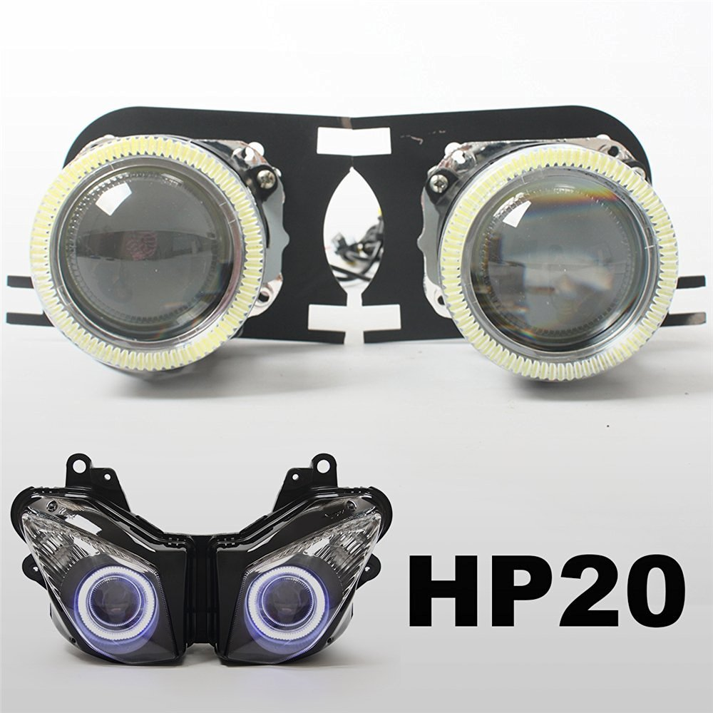 KT Tailor-Made HID Projector Kit HP20 for Kawasaki ZX-10R 2008-2010 White Angel Eye