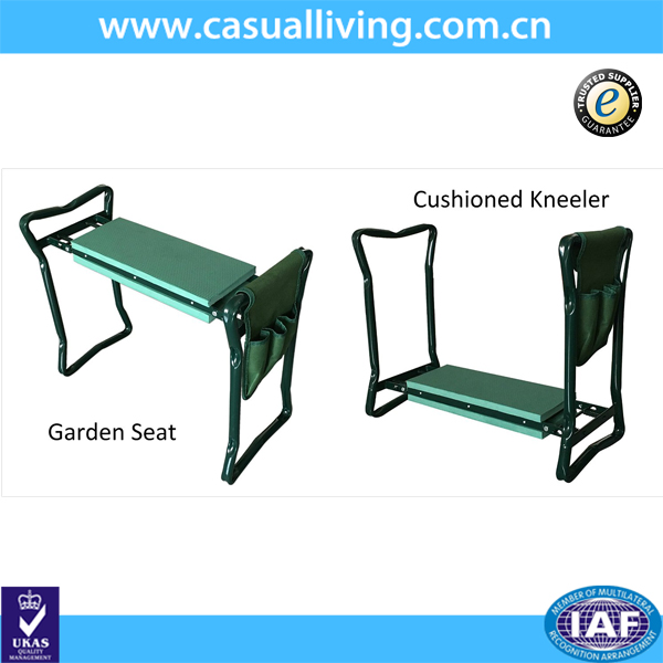 Folding Garden Kneeler and Seat With Tool Pouch, Portable Garden Stool With EVA Kneeling Pad Handles