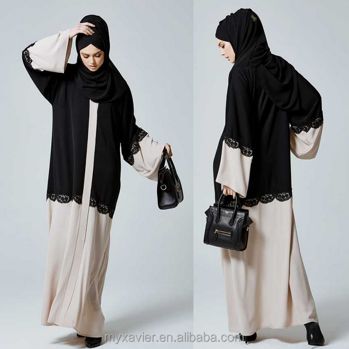 Muslim abaya black and stone color lace abaya with black hijab and kimono sleeve abaya long dress