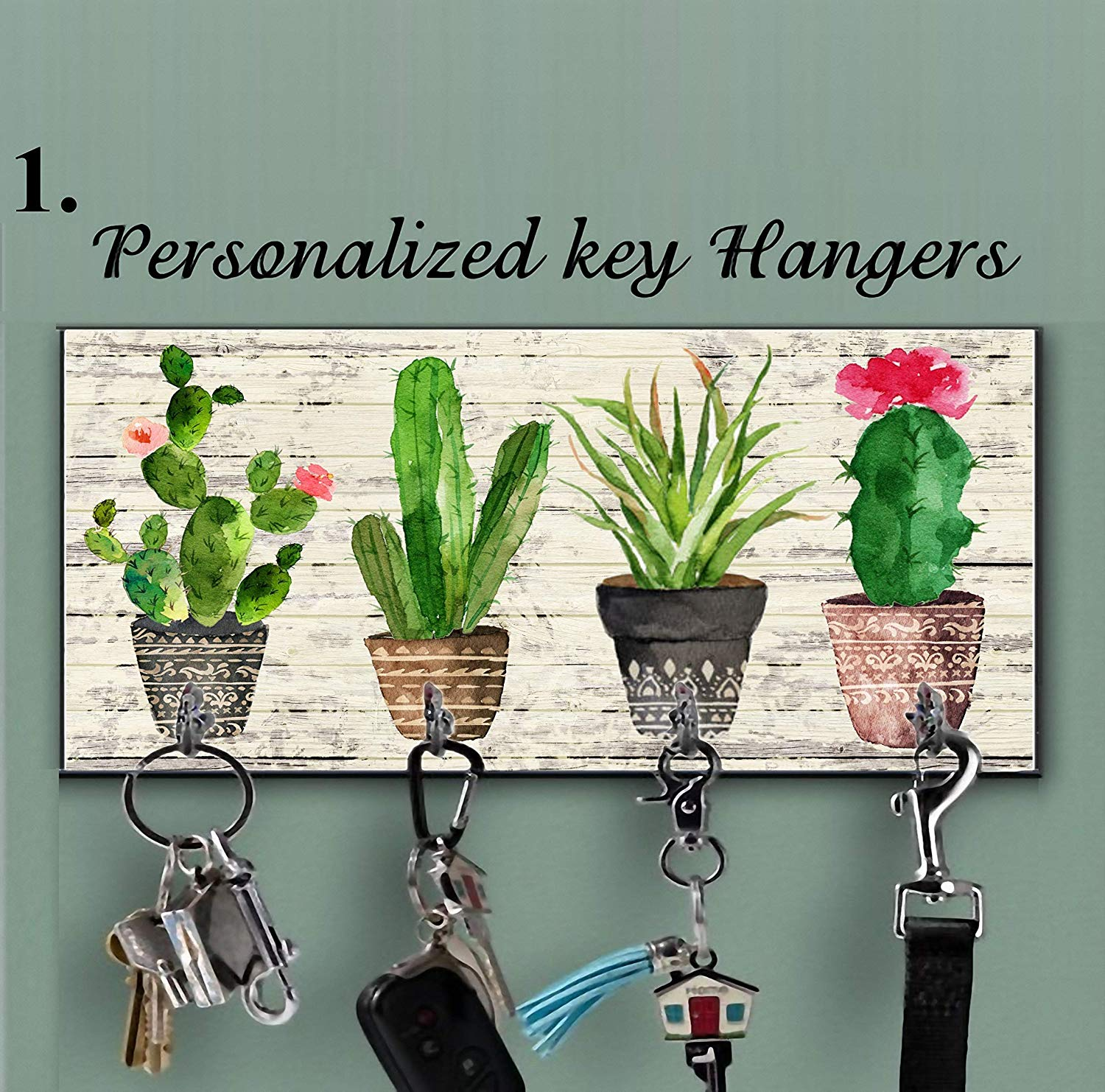 Wooden Cactus key holder for wall, Cactus wall decor, Tropical wall decor, Hook key, Organizer wall key rack, Cactus key storage,Wall Key Rack, Key Hangers, Personalized Gift, Cacti key hanger