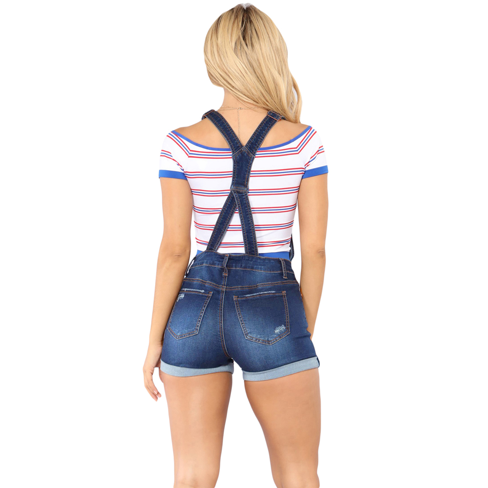 Blue Roll-up Cuffs Button Down Denim Short Overall Jeans