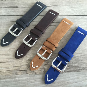 Cut edge vintage leather strap 20MM soft mens watch bands