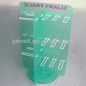 Cusomized Acrylic Rotate Display Stand with Metal Hanger