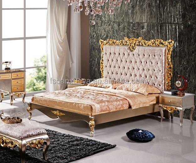 OAK Wood carved gold color princess queen size bed with high headboard