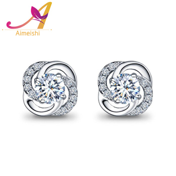 ab5b92d0930ae Lucky Four Leaf Clover Full Diamond Ball Pave Setting 925 Sterling Silver  Stud Earrings - Buy 925 Sterling Silver Stud Earrings,Diamond Ball Pave ...