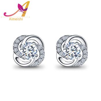 56bde4291 Lucky four leaf clover full diamond ball pave setting 925 sterling silver  stud earrings