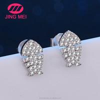 Bling jewelry nautical fish bone silver stud earrings