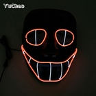 Crazy EL Rope Tube Smiling Snake Face Fancy Dress Up Accessory Supplies Led Neon Party Cheer Mask for Mardi Gras Holiday party