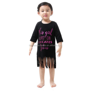 Wholesale Children Kids Girls Long Sleeve Glitter Fringe Cotton Dress ,Baby 1 Year Old Party Dress
