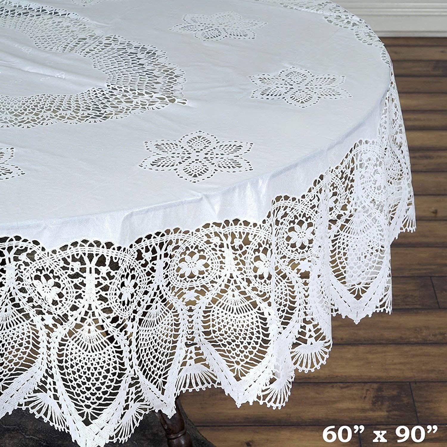 "Efavormart 60""x90"" Eco-Friendly White 0.6mil Thick Disposable Waterproof Oval Vinyl Tablecloth Protector Cover"