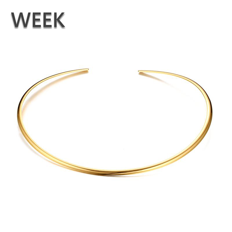 WEEK Women Simple Collar Necklace 18k Gold Plated <strong>Jewelry</strong> Wholesale