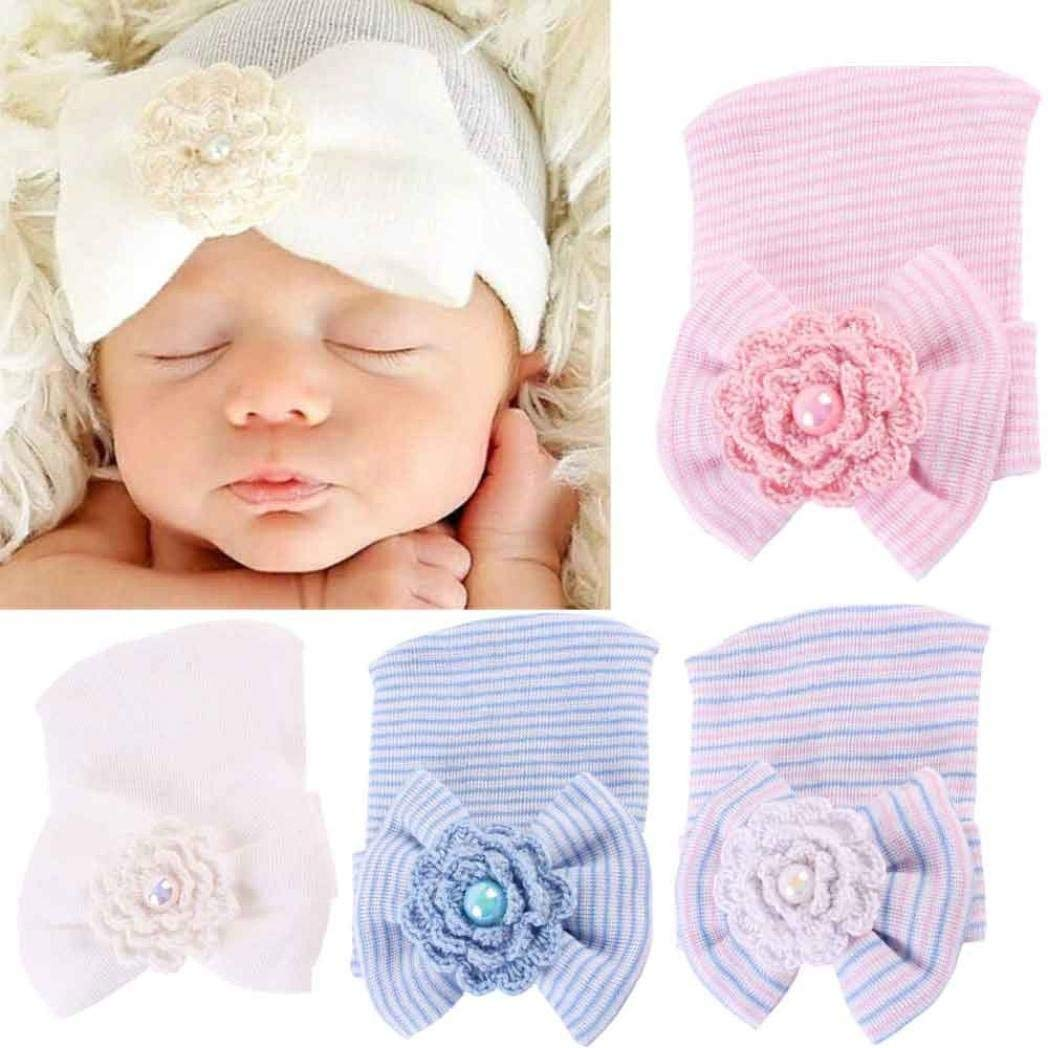 b68c24ca959 XILALU Newborn Hospital Hat Newborn Baby Hats with Pretty Bow Flower Pearl  by XILALUNewborn Hospital Hat
