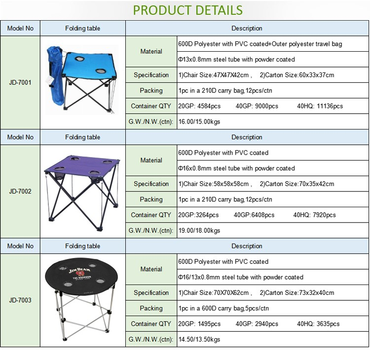 2015 Hot sell promotional item metal outdoor furniture folding table for camping
