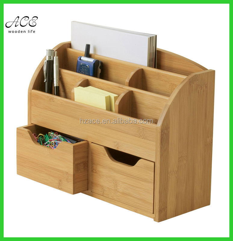 Custom bamboo desk organizer bamboo office table organizer for Html table th always on top