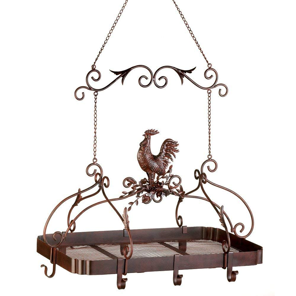 MyEasyShopping Country Rooster Kitchen Pot Rack, 1 - Country Rooster Kitchen Rack, Kitchen Rack Country Rooster Pot Hanging Pan Holder Iron Home Organizer Storage Tuscan Rustic New Metal Farm