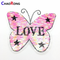 CRN0358 colorful embroidery cat sequin butterfly patch