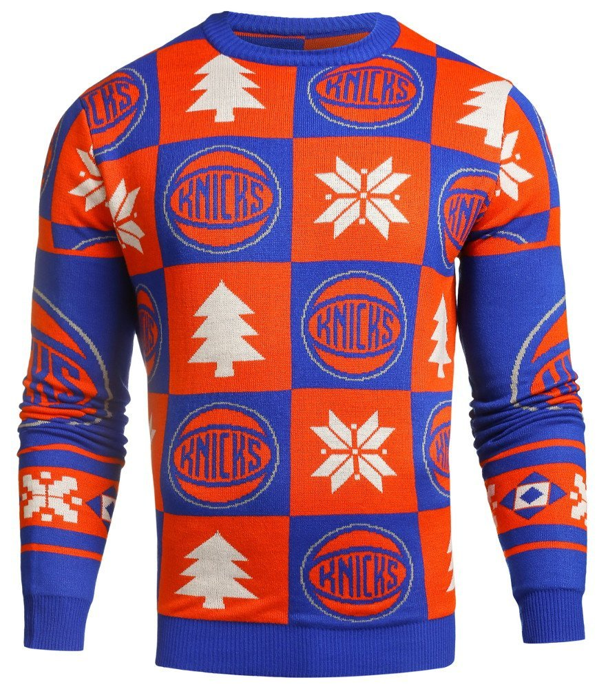 daced6dc8dd Get Quotations · New York Knicks NBA 2016 Mens Patches Holiday Ugly Sweater