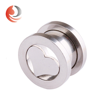 Screw Fit 316l surgical Stainless Steel Heart shape Tunnel plugs