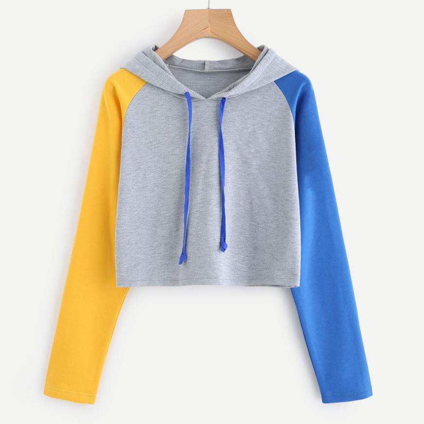 महिलाओं फसल शीर्ष हूडि Sweatshirts आकस्मिक लंबी आस्तीन चिथड़े फसल हूडि महिलाओं की Hooded स्वेटर