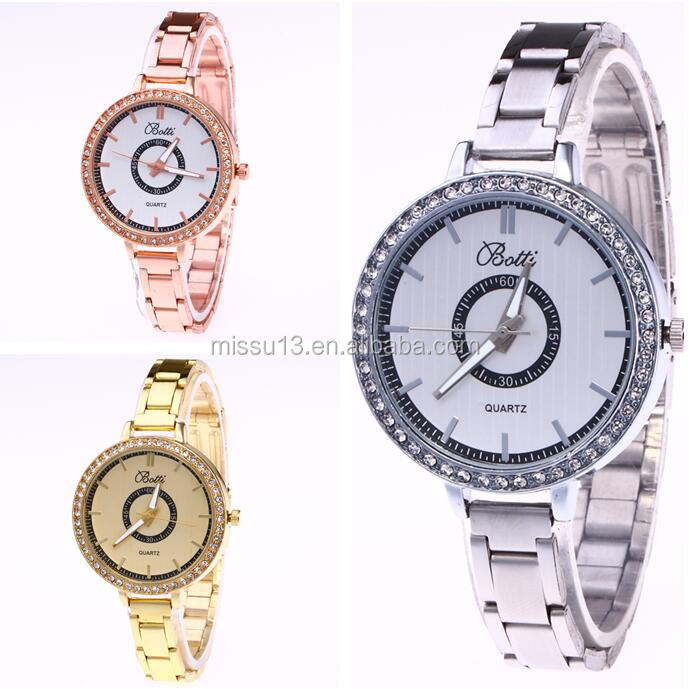 2017 new popular rhinestone thin strap metal roman number factory watch reloj