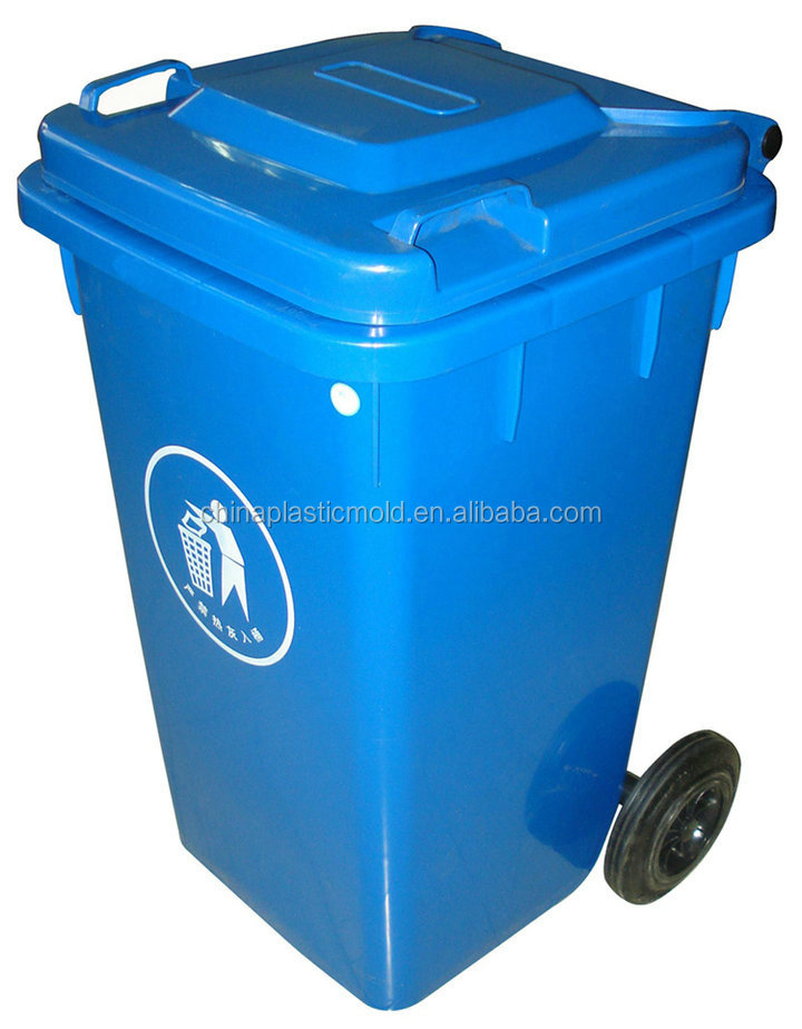 Mobile HDPE outdoor plastic rubbish bin with wheelie garbage