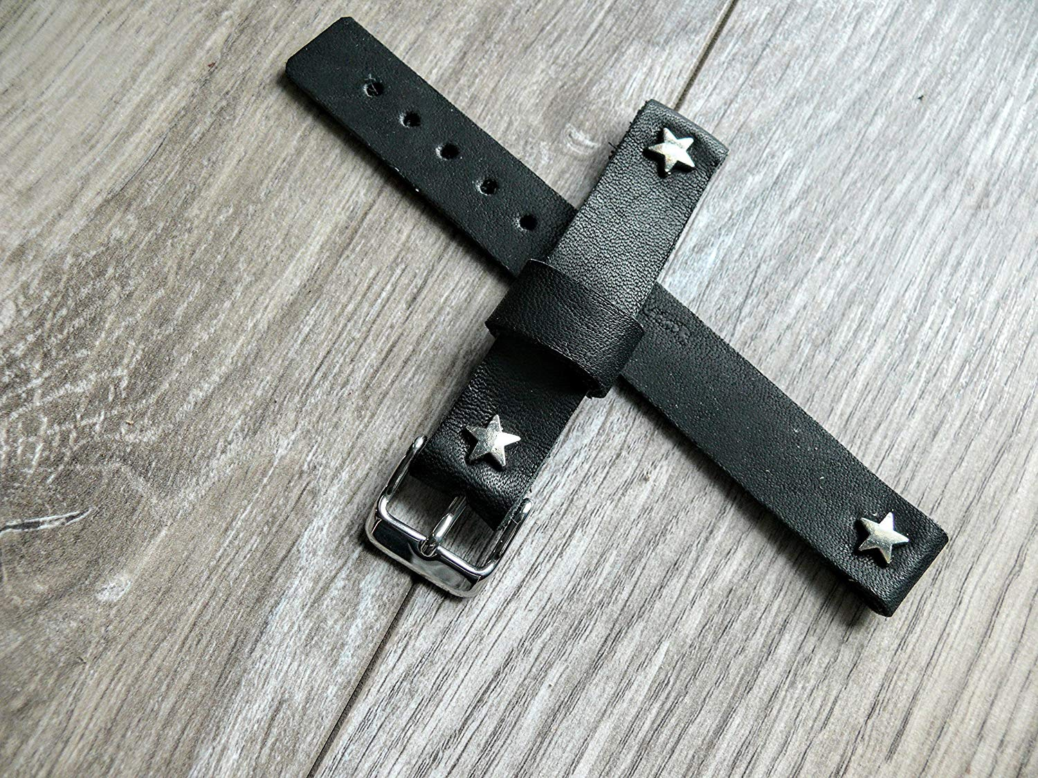 Handmade black leather band, star rivets leather band, watch band, watch strap, black band 16mm band, handmade Rugged Leather Watch Band, Handmade genuine leather watch strap, handmade band
