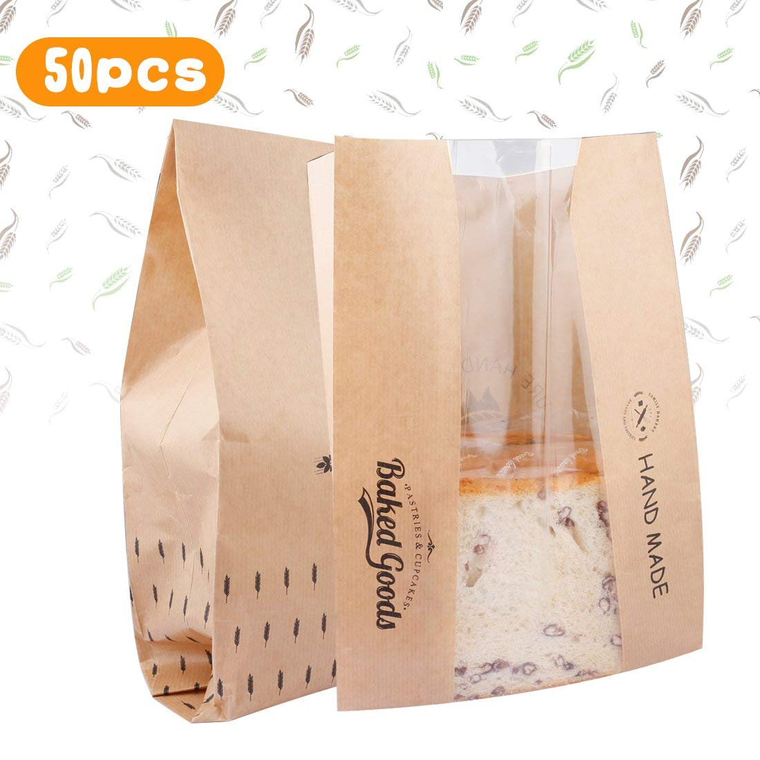 A-SZCXTOP 50pcs Paper Baking Bags Toast Bread Bags Window Anti-Oil Kraft Paper Food Packaging Bags Durable Easy Cleaning Non-toxic