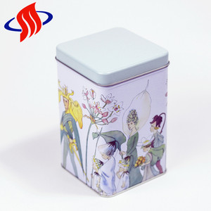 hot sale green tintop cookie metal colorful printing square tea tin box with lid
