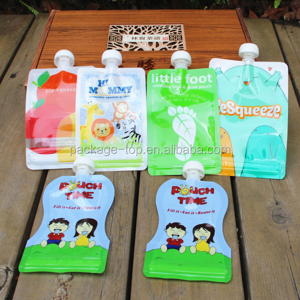 Squeeze refillable plastic packaging baby food pouch /Reusable spout pouch food bag for baby and kids